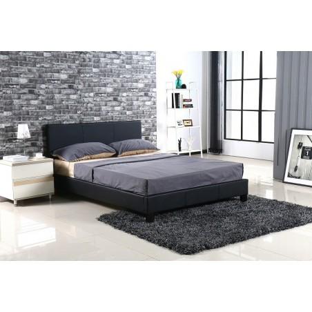 Lit design noir ABEL 140x200 cm deux places,Simili cuir, coloris noir, avec sommier.