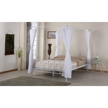 Lit baldaquin, deux places, 140 x 200 cm en métal coloris blanc et voilage blanc inclus.