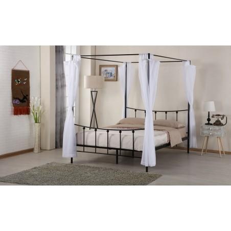Lit deux places - baldaquin - 160 x 200 cm en métal coloris noir et voilage blanc inclus.