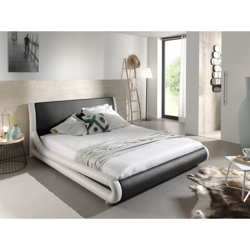 lit deux places lit design noir et blanc arthur 140x200 cm. Black Bedroom Furniture Sets. Home Design Ideas