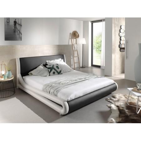 Lit design noir et blanc ARTHUR 140x200 cm deux places,Simili cuir, avec sommier.