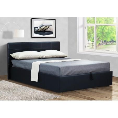 Lit CHANEL 140x200 cm avec coffre de rangement en simili cuir et coloris noir. Sommier inclus.