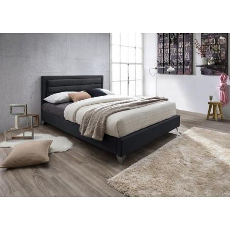 Lit ERIC 140x200 cm en simili cuir et coloris noir. Sommier inclus.