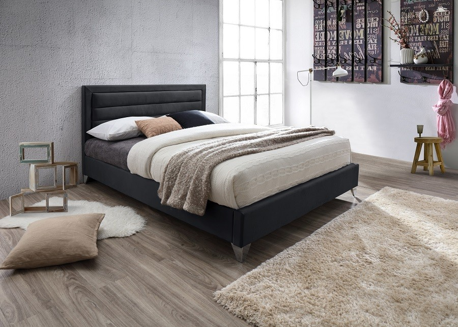 lit deux places lit eric 140x200 cm en simili cuir et coloris noir. Black Bedroom Furniture Sets. Home Design Ideas