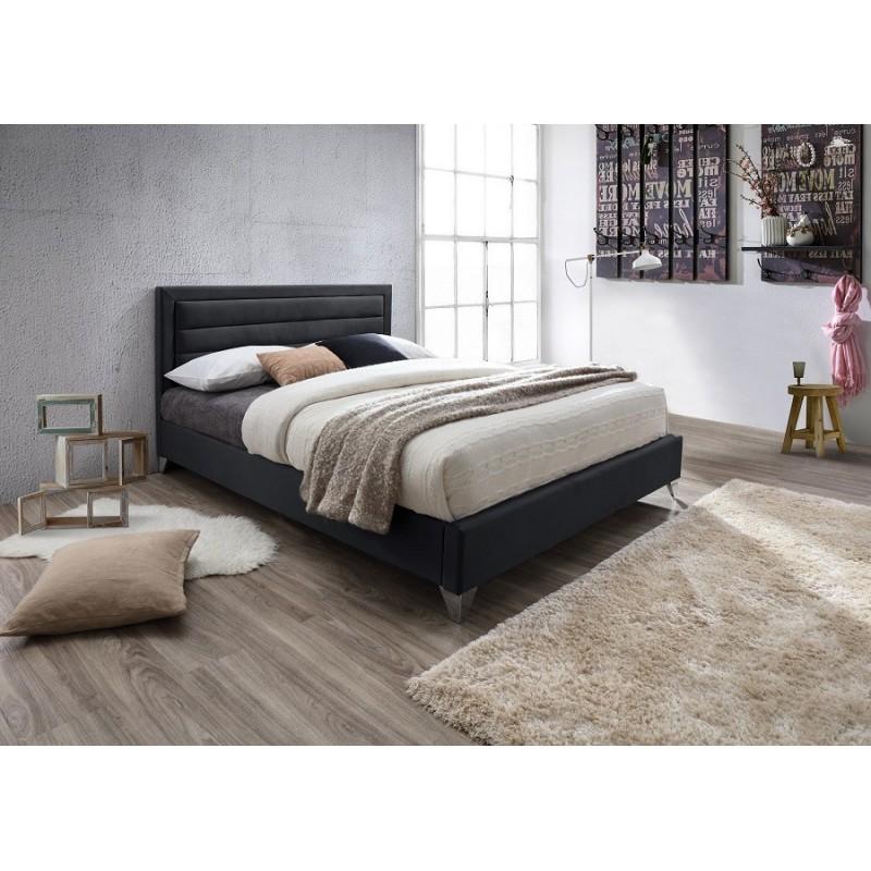lit lit eric 160x200 cm en simili cuir coloris noir