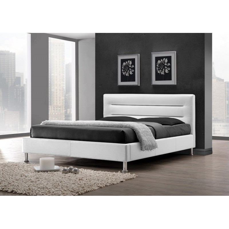 lit lit feenix 160x200 cm en simili cuir coloris blanc. Black Bedroom Furniture Sets. Home Design Ideas