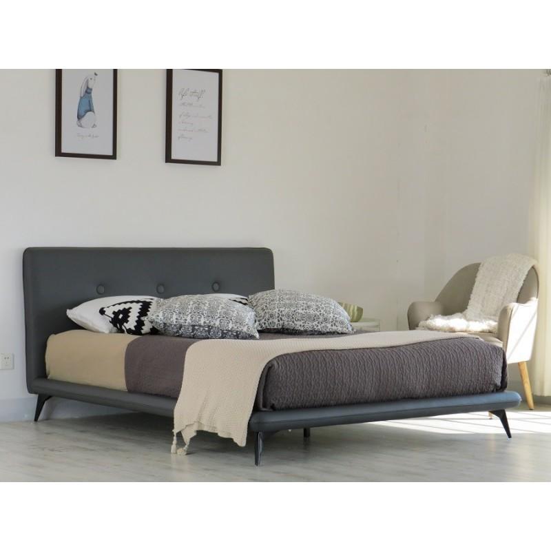 lit lit finn 160x200 cm en simili cuir coloris gris. Black Bedroom Furniture Sets. Home Design Ideas