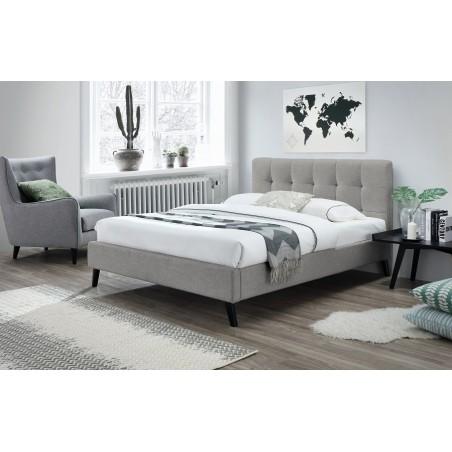 Lit adulte deux places design FLEUR + sommier 160x200 cm. Type scandinave, idéal pour votre chambre à coucher