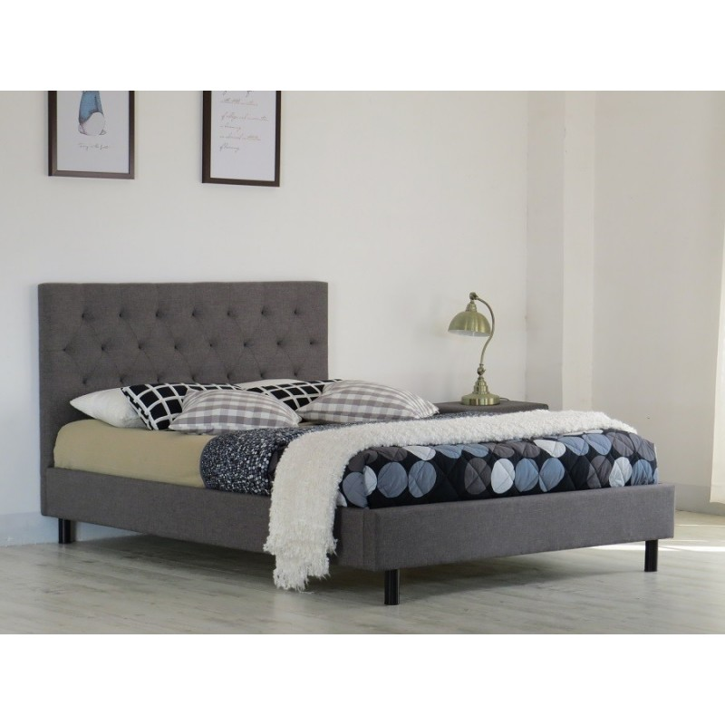 lit deux places lit juliette 140x200 cm en tissu coloris gris somm. Black Bedroom Furniture Sets. Home Design Ideas