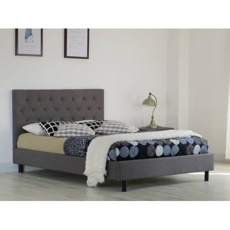 Lit JULIETTE 140x200 cm en tissu coloris gris, sommier inclus et ignifugé.