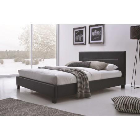 Lit MITCH 160x200 cm en simili cuir, coloris noir, sommier inclus