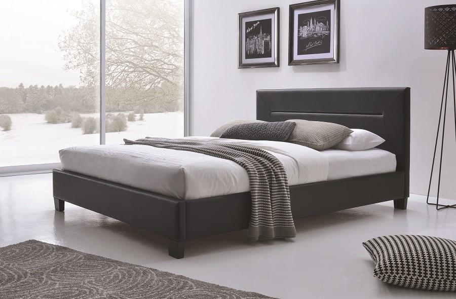 Lit lit mitch 160x200 cm en simili cuir coloris noir sommier inclus
