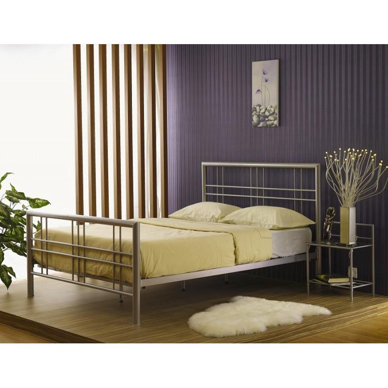 lit lit paxos 140x200 cm en m tal coloris gris argent avec sommier. Black Bedroom Furniture Sets. Home Design Ideas