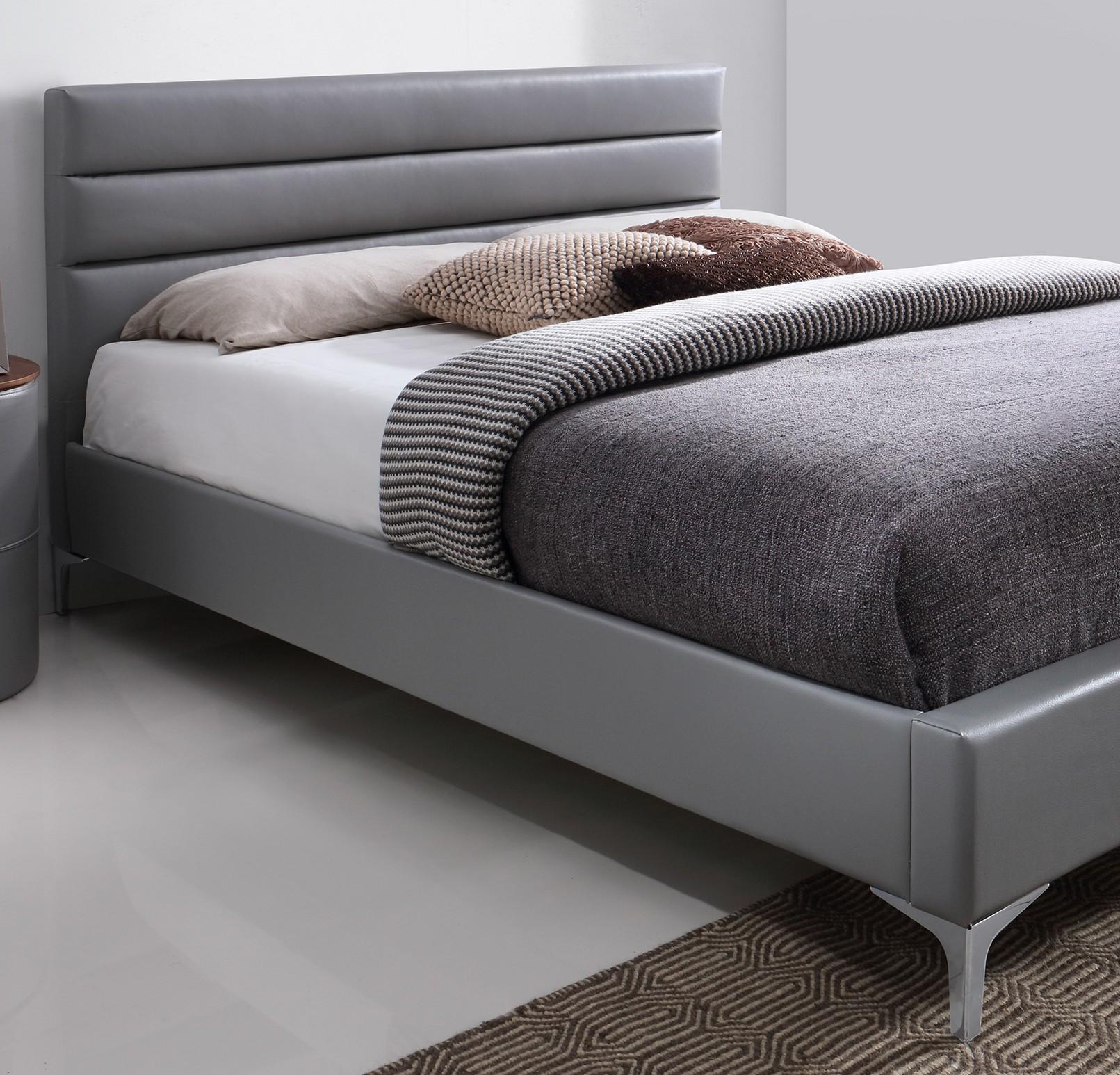 lit deux places lit thomas 140x200 cm en simili cuir. Black Bedroom Furniture Sets. Home Design Ideas