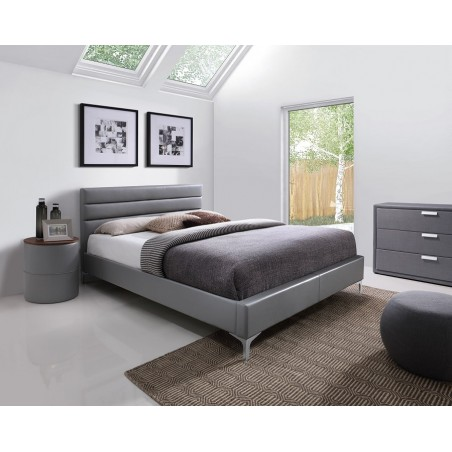 Lit THOMAS 160x200 cm en simili cuir, coloris gris, sommier inclus