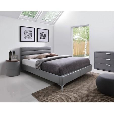 Lit THOMAS 160x200 cm en simili cuir, coloris gris, sommier inclus