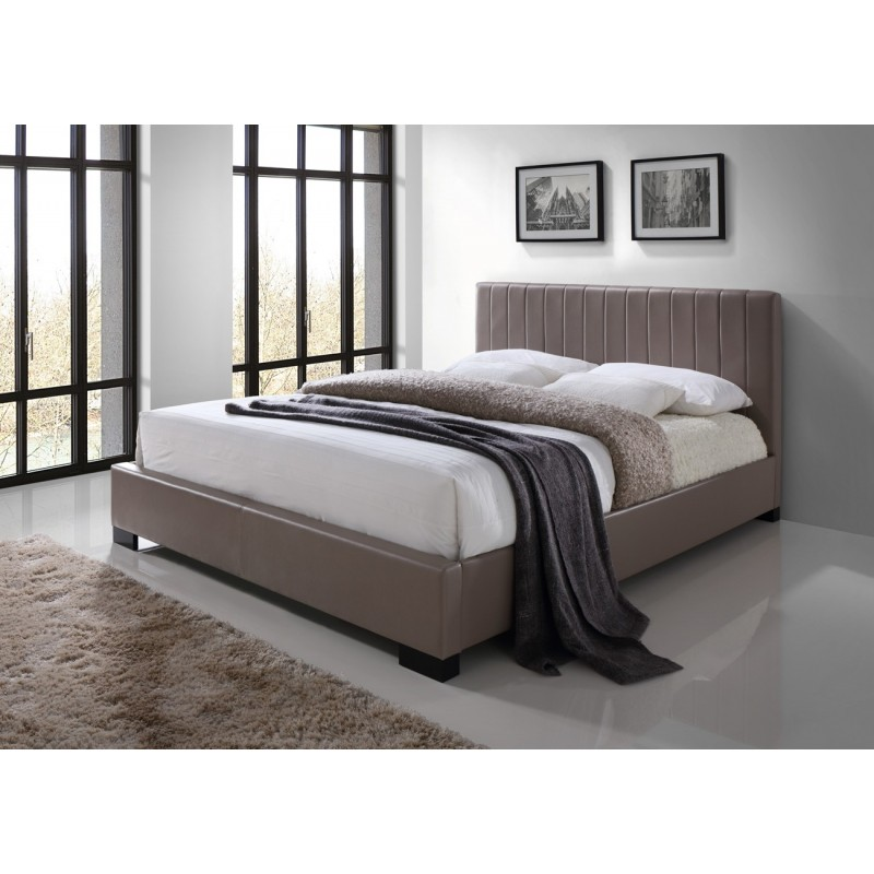 lit deux places lit xeno 140x200 cm en simili cuir coloris brun s. Black Bedroom Furniture Sets. Home Design Ideas