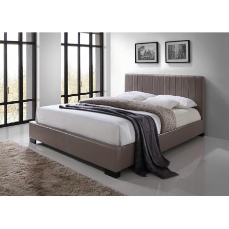 Lit XENO 160x200 cm en simili cuir, coloris brun, sommier inclus