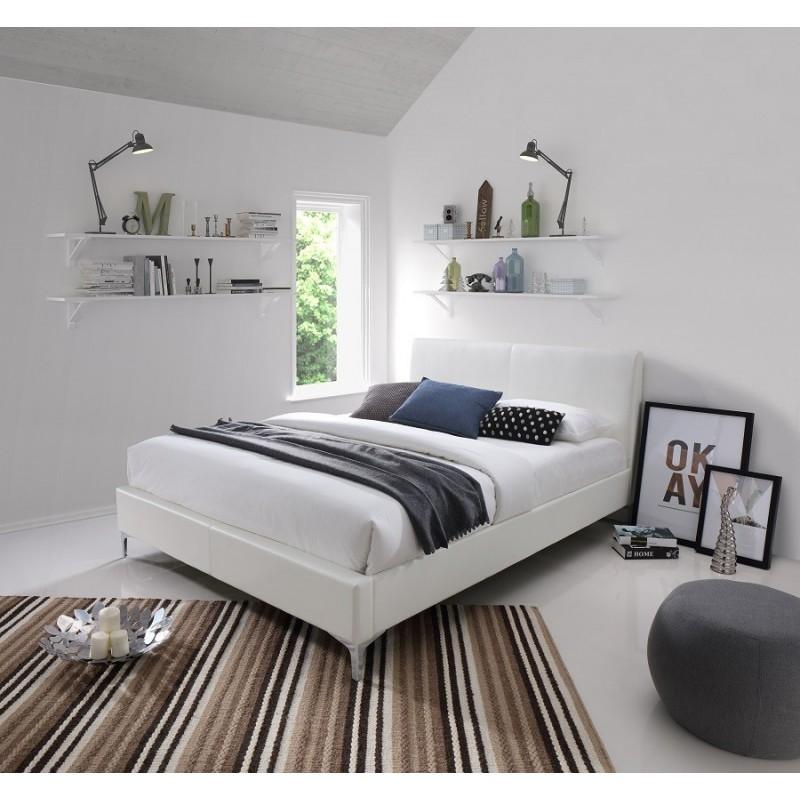 lit lit zoe 160x200 cm en simili cuir coloris blanc. Black Bedroom Furniture Sets. Home Design Ideas