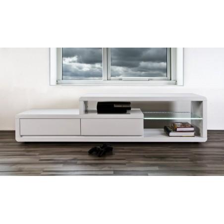Meuble TV NELSON 180 cm à 2 tiroirs et 2 niches coloris blanc