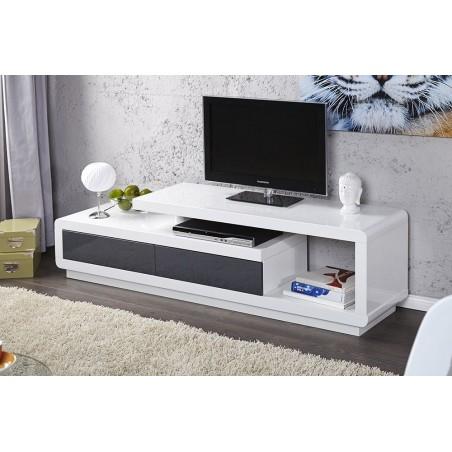 Meuble TV DARWIN 170 cm à 2 tiroirs et 1 niche coloris blanc et gris.