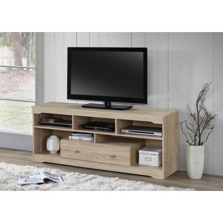 Meuble TV MERSIN 150 cm à 1 tiroir et 5 niches coloris Sonoma.