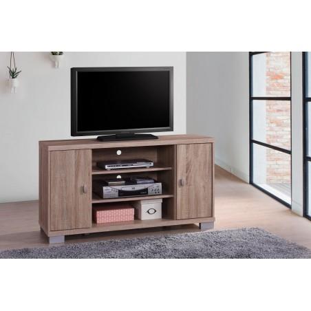 Meuble TV BELEK 120 cm à 2 portes et 3 niches coloris Sonoma.
