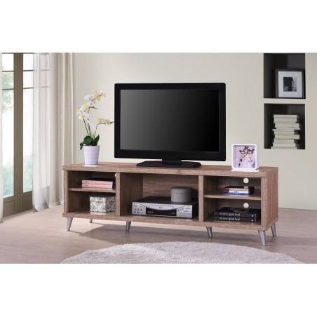 Meuble TV KONYA 142 cm avec 5 niches coloris Sonoma.