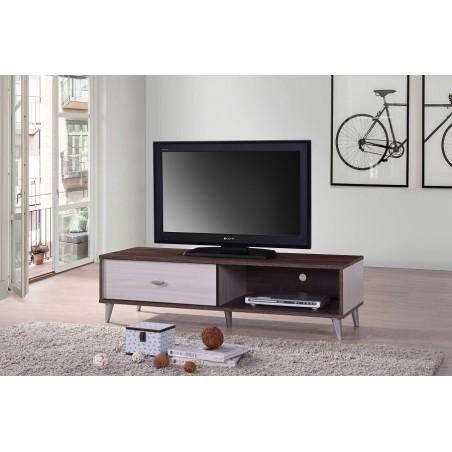 Meuble TV BODRUM 120 cm avec une porte coulissante coloris noyer et blanc.