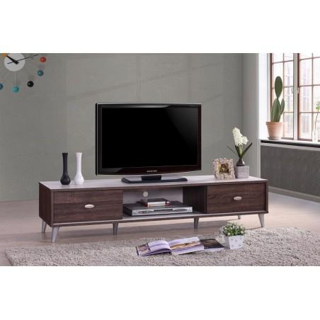Meuble TV ANKARA 150 cm avec deux portes coulissantes coloris noyer et blanc.