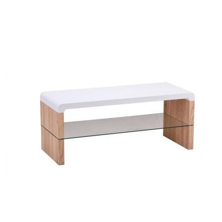 Meuble TV FARO 100 cm avec une étagère en verre, coloris blanc et chêne