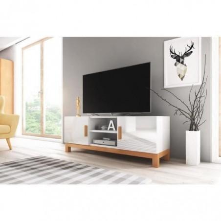 Meuble TV design GEORGE 140 cm à 2 portes et 2 niches. Type scandinave