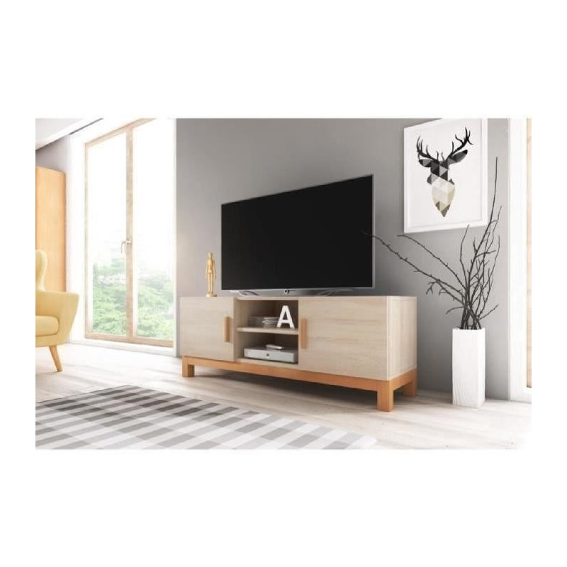 meuble tv design george 140 cm 2 portes 2 niches type scandina. Black Bedroom Furniture Sets. Home Design Ideas