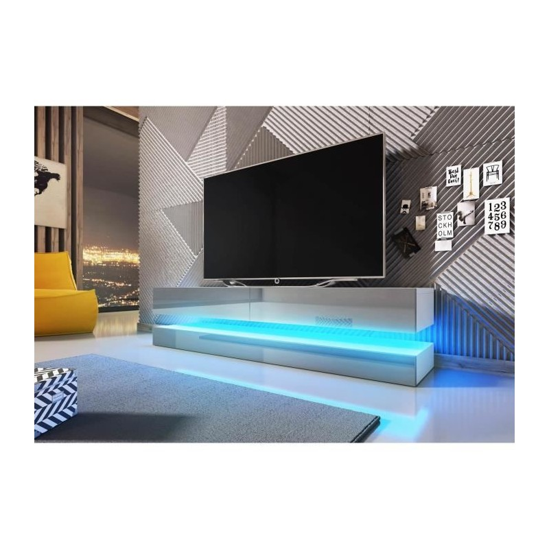 Meuble Tvhifi Meuble Tv Design Suspendu Fly 140 Cm à 2 Tiroirs Co