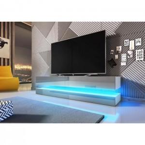 Meuble TV design suspendu FLY 140 cm à 2 tiroirs, coloris blanc mat et gris brillant + led