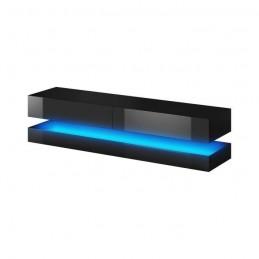 Meuble TV design suspendu FLY 140 cm à 2 tiroirs, coloris noir mat et noir brillant + led