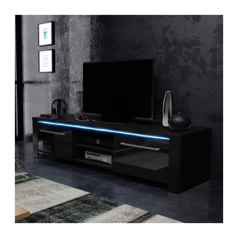 MEUBLE TV/HIFI Meuble TV Design MANHATTAN 140 Cm à 2 Portes Et 2 Ni.