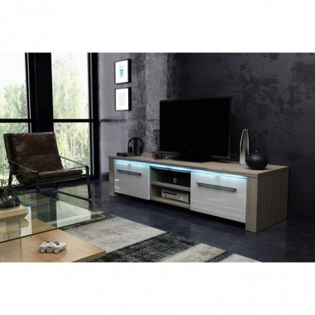 Meuble TV design MANHATTAN 140 cm à 2 portes et 2 niches coloris sonoma et blanc + led
