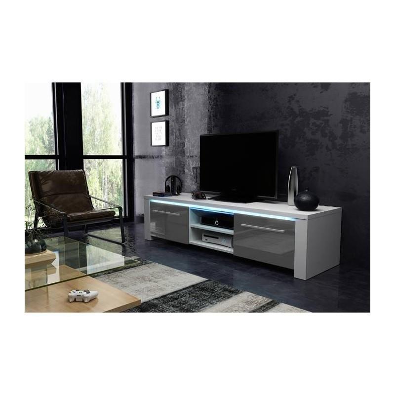 Meuble Tv Hifi Meuble Tv Design Manhattan 140 Cm A 2 Portes Et 2 Ni