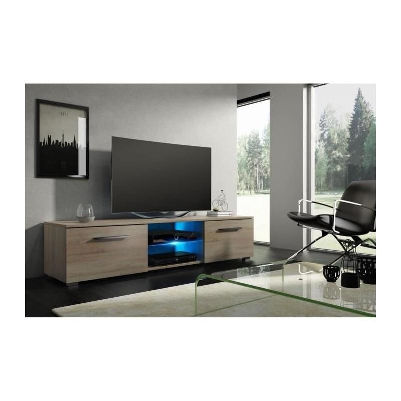 Meuble Tvhifi Meuble Tv Design Leon 140 Cm à 2 Tiroirs 2 Niches