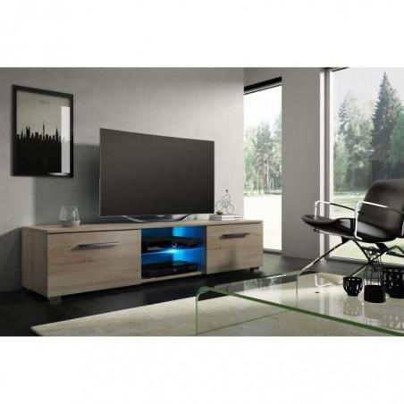 Meuble TV design LEON 140 cm à 2 tiroirs et 2 niches coloris Sonoma + led