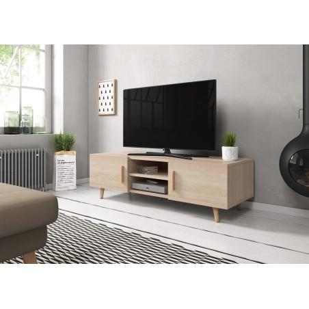 Meuble TV design EDEN II 140 cm, 2 portes et 2 niches, coloris chêne Sonoma. Type scandinave