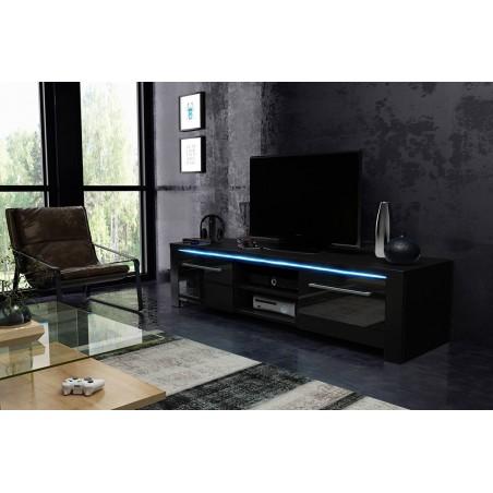 Meuble TV design BREST-HIT 100 cm, 1 porte et 2 niches, coloris noir brillant.