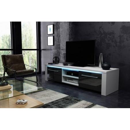 Meuble TV design MANHATTAN XL, 160 cm à 2 portes et 2 niches coloris blanc et noir brillant + led