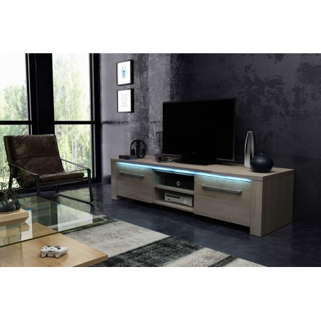 Meuble TV design MANHATTAN XL, 160 cm à 2 portes et 2 niches coloris Sonoma + led