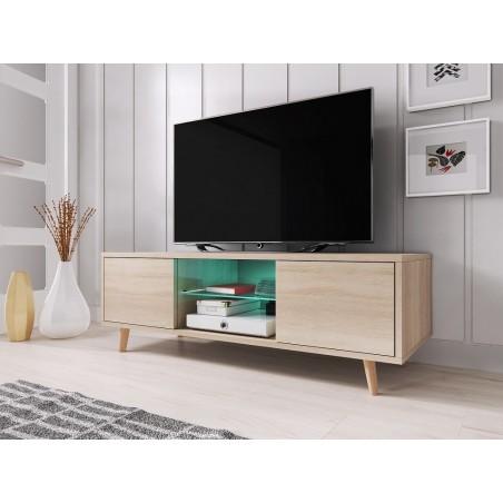 Meuble TV design EDEN 140 cm, 2 portes et 2 niches, coloris chêne Sonoma + LED. Type scandinave.