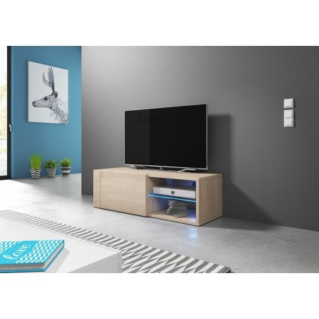 Meuble TV design BREST-HIT 100 cm, 1 porte et 2 niches, coloris chêne sonoma.