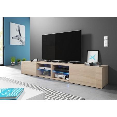Meuble TV design BREST-HIT XXL, 2 mètres, 2 portes et 4 niches, coloris chêne sonoma.