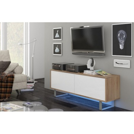 Meuble TV design, 140 cm, 2 portes, coloris chêne Sonoma et blanc brillant + LED.