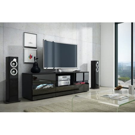Meuble TV design GLOBUS, 140 cm, 3 portes et 1 niche, coloris noir brillant + LED